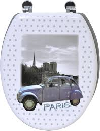 Oblong Toilet Seat Printed Elongated Toilet Seat Paris 2cv Car Gray With Zinc Hinges