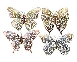 Butterfly 3d Wall Art by Garden Butterflies 3d Metal Wall Art Set Of 4