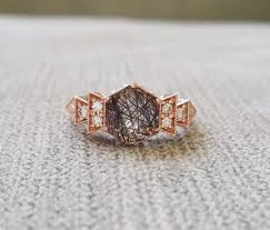 copper engagement ring antique rutilated quartz engagement ring gold 1920s