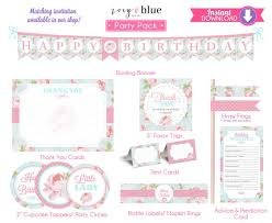 shabby chic birthday invitation party pack pink first birthday