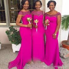 Pink And Black Bridesmaid Dresses Sale Magenta Mermaid Bridesmaid Dresses For Black Girls Scoop Cap
