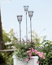 metal flower garden stakes monelle votive metal and glass garden stakes set of 3 gardeners com