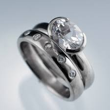 wedding ban oval white sapphire half bezel solitaire ring moissanite wedding ban