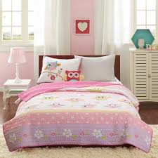overstock girls bedding amazon com mizone kids hooting haley 3 piece coverlet set pink