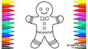 coloring pages and drawing gingerbread man art colours for kids