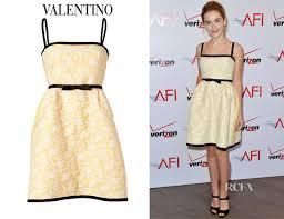 kiernan shipka u0027s valentino yellow and white belted lace dress
