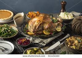 thanksgiving turkey dinner all sides stock photo
