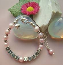 Baby Name Bracelet Pearl Baby Name Bracelets Freshwater Cultured U2013 Babybeadtreasures