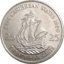 twenty five dollars 25 cents elizabeth ii 2nd portrait eastern caribbean u2013 numista