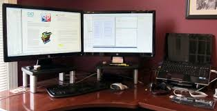 computer desk for dual monitors stunning how to improve your computer work efficiency with dual