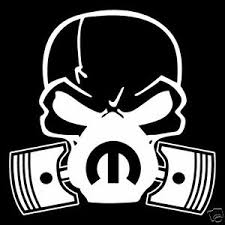 skull dodge mopar mask piston v8 vinyl decal sticker car truck