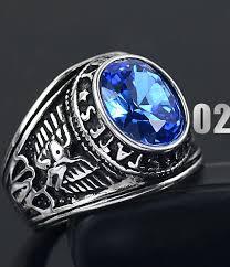 blue men rings images Brand titanium thai silver men finger ring blue red black crystal jpg