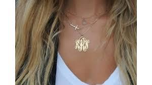 large monogram necklace gold plated large monogram necklace
