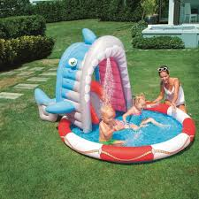 inflatable swimming pool blow up play shark sprayer sprinkler baby