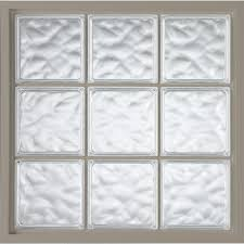 hy lite 39 in x 39 in glass block fixed vinyl windows driftwood