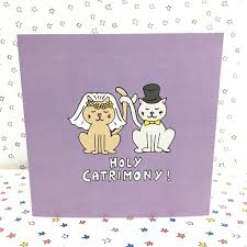 cat wedding card funny wedding card by ladykerry illustrated