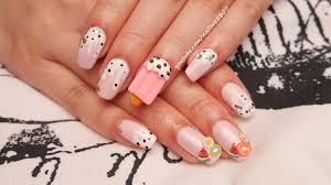 sweet gyaru ice cream nail art tutorial for spring youtube