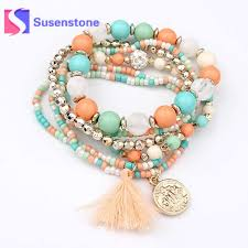 beading elastic bracelet images 6pcs sets women 39 s fashion jewelry bracelet sets boho multicolor jpg