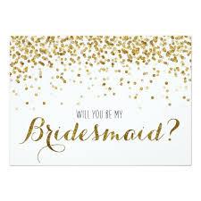 bridesmaid invitations uk gold glitter confetti will you be my bridesmaid card zazzle co uk