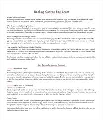 booking agent contract template 9 download free documents in
