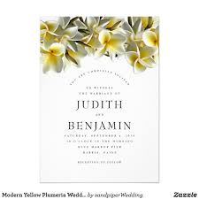 Text For Invitation Card Modern Yellow Plumeria Wedding Invitations With Large Text For