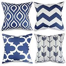 Navy Blue Decorative Pillows Amazon Com Popeven 4 Packs Navy Blue Throw Pillows Home Decor