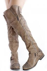low heel popular cut pu leather boots boots increase taupe faux leather studded spikes the knee boots