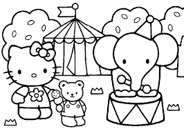 kitty elephants kitty coloring pages