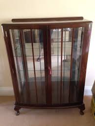 vintage mahogany glass display cabinet for ornaments china glass