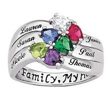 children s birthstone rings for mothers sterling silver heart and name family birthstone ring 2 6 names