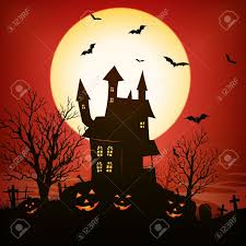 illustration of a spooky haunted house inside red halloween