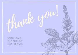 bridal card lavender bridal shower thank you card templates by canva