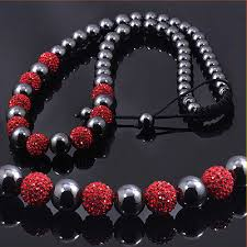 red crystal bead necklace images Black red crystals beaded disco ball necklace jpg