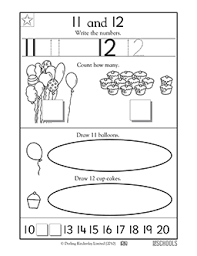 kindergarten preschool math worksheets learning 11 12