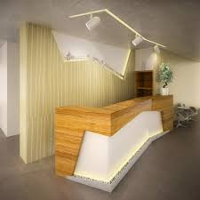 furniture luxury reception desk with wood and stone design for