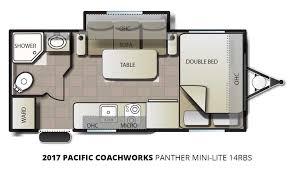 Camper Trailer Floor Plans 2017 Pacific Coachworks Panther Mini Lite 14rbs Travel Trailer