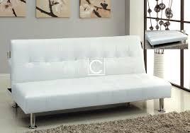 contemporary futon sofa bed modern bulle white leatherette adjustable futon sofa bed side