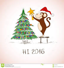 new year card with funny monkey decorate the christmas tree stock