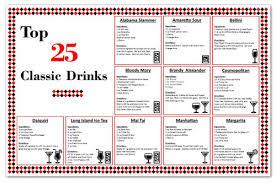 laminated bar cocktail mixed drink recipe chart zieglerworld