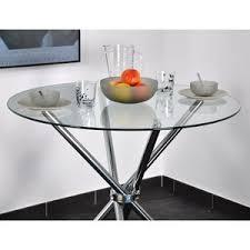 table de cuisine ronde en verre pied central tables à manger tous styles