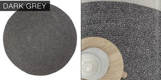 Grey Round Rug Hand Crafted Cable Knit Modern Round Hand Braided Woven Wool Rug