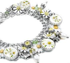 flower charm bracelet images Sunshine daisy charm bracelet with crystals and hand enameled JPG