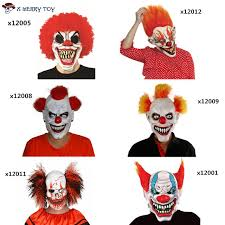 Scary Halloween Clown Costumes Merry Toy Free Shipping Joker Clown Costume Mask Creepy Evil