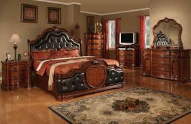 cherry bedroom furniture leather headboard cherry wood bed