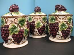 3 pcs 3d grape canister set kitchen decor vineyard wine home