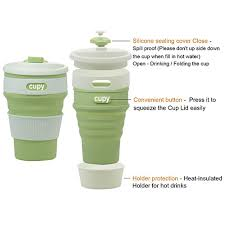 Collapsible Coffee Mug Cupy Silicone Collapsible Reusable Coffee Cup Matcha Green