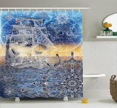 Nautical Anchor Shower Curtain Bathroom Cool Gold Nautical Anchor And Fishing Net Shower