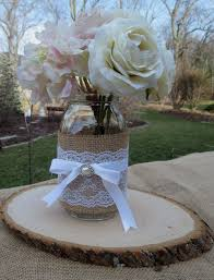 jar center pieces decorated jar and wood slice wedding centerpieces decor