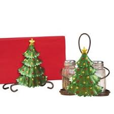 salt and pepper shaker set napkin holder christmas tree kitchen