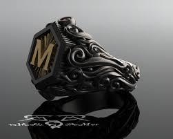 mens monogram ring men s heavy signet ring in 18kt and sterling